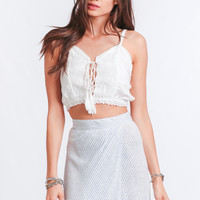 Dream On Lace-Up Crop Top