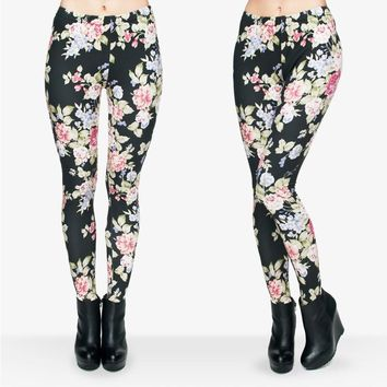3D Graphic Fresh Flowers Aztec Leggings