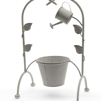 """15.5"""" New Romance Decorative Growing Vine Trellis and Watering Can Gray Textured Planter"""