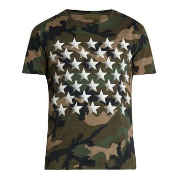 Indie Designs Star Camo Print Cotton Jersey T-Shirt