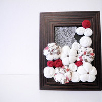 French rustic home framed decoration - white red olive - OOAK bouquet - ready to ship