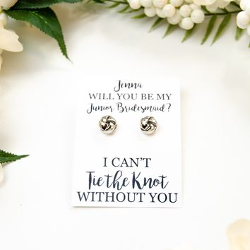 Will You Be My Junior Bridesmaid? Silver Knot Earrings