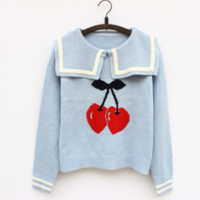 Embroidered Cherry Sailor Style Sweater from Sandysshop