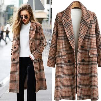 Winter Coat Women Long Double Breasted Wool Coat For Women Plaid Long Sleeve Jackets Casaco Feminino Plus Size 4XL