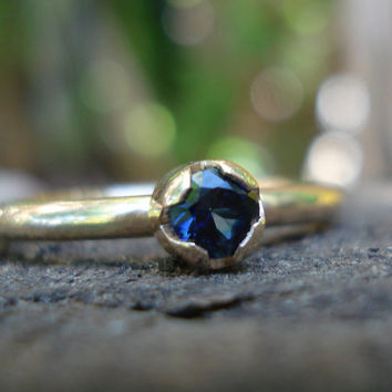 Sapphire ring gold, sapphire stacking ring, sapphire stacker, blue sapphire ring, rose gold ring sapphire, sapphire rose gold, ExquisiteGem