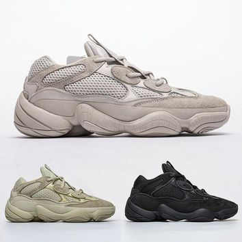 Adidas Yeezy Runner Desert Rat 500 Mens Designer Shoes Running Sneakers SUPPER MOON YELLOW 500 BLUSH UTILITY BLACK Cow Leather Sport Casual Shoe with 3M