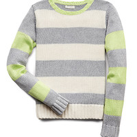 FOREVER 21 GIRLS Fun Stripes Sweater (Kids) Heather Grey/Lime Small