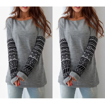 Fashion Long-Sleeved Printing Sweater