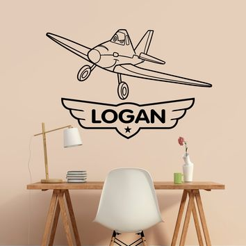 Disney Planes Personalized Name Wall Decal Custom Vinyl Sticker Kids Childrens Room Decor Made in US