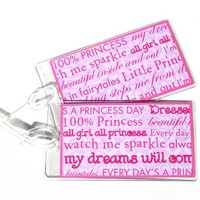 Luggage tags princess sayings pink swirls on pink set of 2 in clear holder