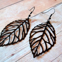 S A B L E Black Leaf Hand Painted Bronze Metal Dangle Earrings by handmadebyfirefli