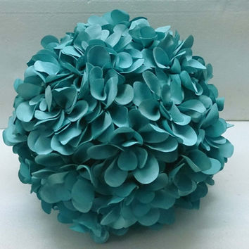 teal blue flower pillow round pouf circular pillow fibre pillow nursery decor baby pillow sofa pillow bedroom decor wedding home decor gift