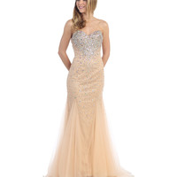 Nude Strapless Sequin Sweetheart Full Length Dress 2015 Prom Dresses