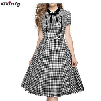 Oxiuly Women Plus Size 3XL 4XL 5XL Retro Gingham Swing Gown Bow Pin up Robe Vintage 60s 50s Rockabilly Plaid A-line Dresses