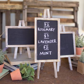 Set Of 3 White Chalkboards On Easels