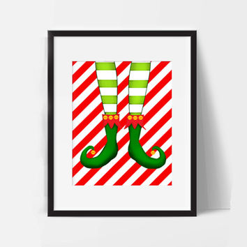 8 X 10 Christmas Elf Winter Decor Red Green White Cute Funny Printable Instant Download Nursery Bathroom Bedroom Wall Art Baby Decor Cartoon