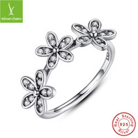 Authentic 100% 925 sterling Silver Dazzling Daisies Stackable Rings Compatible With European Fit Original Pandora Ring Jewelry ALX-SCJS ALX-SCJS