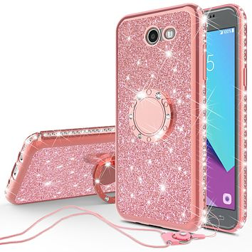 Samsung Galaxy J7 (2017) / J7 Sky Pro / J7 Perx / J7 V Case, Glitter Cute Phone Case Girls with Kickstand,Bling Diamond Rhinestone Bumper Ring Stand Sparkly Luxury Clear Thin Soft Protective Samsung Galaxy J7 (2017) Case for Girl Women - Rose Gold