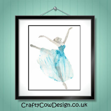 Ballerina print 8x10, ballerina art, ballerina wall art, nursery prints, nursery decor,nursery art, girls room decor, gift for dancer,ballet