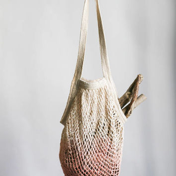 Mesh Tote Bag in Peaches & Cream / Dip Dyed Market Tote / Mesh Bag / Reusable Grocery Bag / Bohemian / Farmers Market Bag - Portland OR