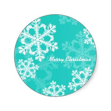 Cute turquoise and white Christmas snowflakes Round Stickers