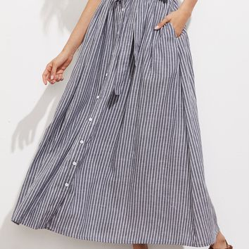 Self Tie Hidden Pocket Detail Button Up Pinstripe Skirt