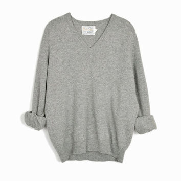 Vintage Gray Lambswool Sweater / Boyfriend Sweater