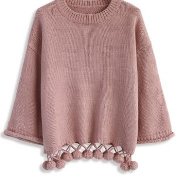 Bouncing Fun Sweater in Pink