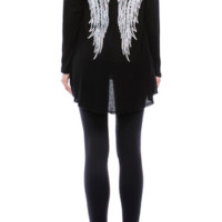 """Vocal Long Sleeve""""Wings""""Top with Stone Detail on Sides and Back"""