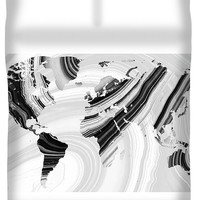 Black And White Marbled World Map - Sharon Cummings Duvet Cover