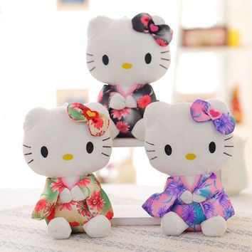 20cm KT cat plush toys hello kitty stuffed dolls for girls kids toys gift wear Japanese kimono cute pig kt mini plush doll