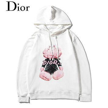 DIOR selling digital direct-spray print round-neck hoodies, fashionable casual hoodies for couples White