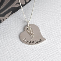 Hand-Stamped Memory Necklace-  Heart and Angel Wing Memory Necklace