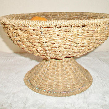 Woven Wicker Pedestal Fruit Basket Bowl Footed Kitchen Home Decor