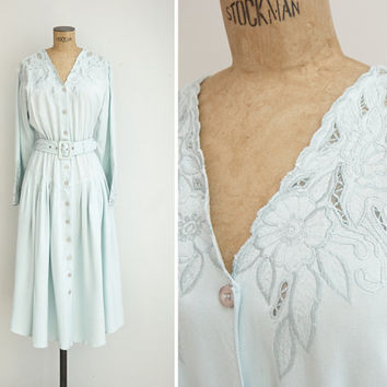 1980s Dress - Vintage 80s Mint Cutwork Dress - Menorca Sea Dress