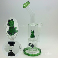 Two Functions Funny Green Frog Colorful Animal glass water bong Honeycomb Oil Rigs Bongs heady dab dry bowl honey comb with bowl dome hookah