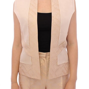 Zeyneptosum Beige brocade sleeveless jacket vest