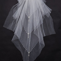 Attractive Floral Edge Wedding Bridal Veil
