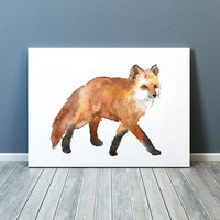 Watercolor fox print Nursery decor Animal art ACW40