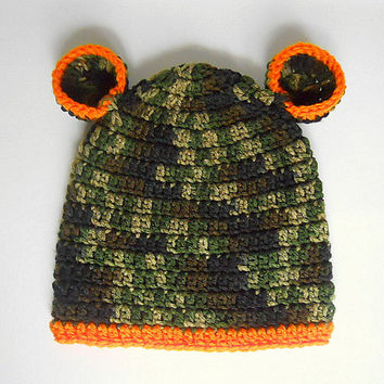 Toddler  Boy  Camouflage Hat With Orange Trim Green Camo Baby  Girl  Cap With Ears  Infant 2 To 5 Years Children  Fall Hunting Beanie