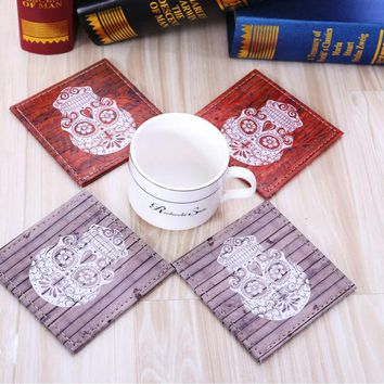 et of 4 10cmx10cm Wood Slat Sugar Skull Bar Coaster Table Cup Holder Drink Placemat Mat