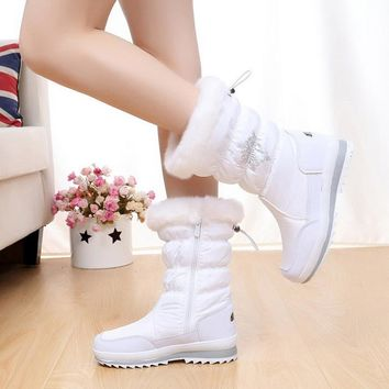 Women boots 2017 new arrivals women's winter shoes Waterproof Non-slip snow boots zip solid plush winter boots for - 35 degrees