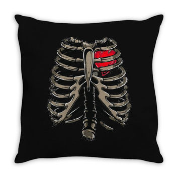 ribcage and heart Throw Pillow