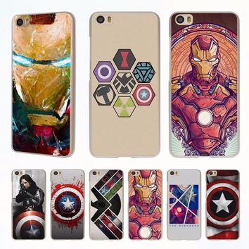 the avengers ironman captain america style clear phone shell Case for Redmi 3s 4x 4A Note3 note4 case for Xiaomi Mi 6 5 5s