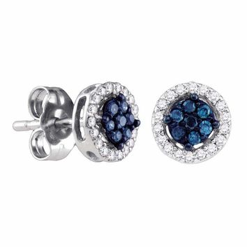 14k White Gold Women's Round Blue Color Enhanced Diamond Cluster Stud Screwback Earrings 1-4 Cttw - FREE Shipping (US/CAN)