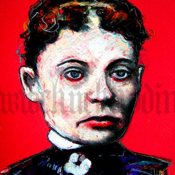 "Print 8x10"" - Lizzy Borden - Victorian Axe Murder Horror Serial Killer Blood Death Manson Gothic Halloween Dark Art"