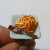 Tinned Spaghetti on Toast Miniature Food Ring - Miniature Food Jewelry,Handmade Jewelry Ring