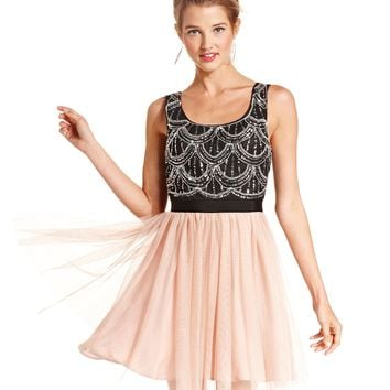 As U Wish Juniors Dress, Sleeveless Sequin Tulle - Juniors Homecoming Dresses - Macy's
