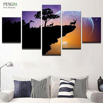 PENGDA Canvas Painting Home Decor Frames For Living Room Canvas Art Printed 5 Panel Animal Landscape On Canvas Wall Picture