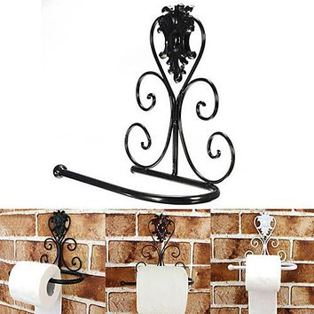 Vintage Black Iron Toilet Paper Roll Holder Bathroom Wall Mount Rack toilet paper holder